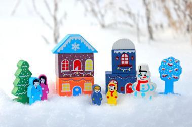 Фото Конструктор деревянный Цветной городок Зима