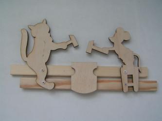 Фото Богородская игрушка Кузнецы Кот и Мышь под роспись (Р45/938)