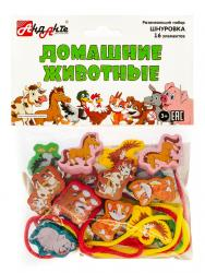 Фото Деревянная шнуровка-бусыДомашние животные 16 эл (Д002)