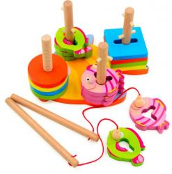 Фото Деревянная развивающая игрушка сортировщик Рыбалка (Д011а)