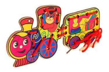 Фото Шнуровка деревянная Паровоз игрушек (Д553а)