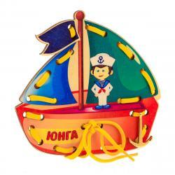 Фото Шнуровка деревянная Кораблик Юнга (Д556)