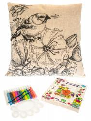 Фото Чехол для подушки под роспись Птичка в саду цветов (476041)