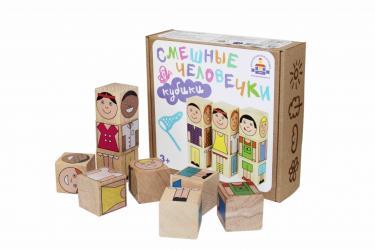 Фото Кубики деревянные Смешные человечки