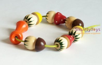 Бусы деревянные грибы в мешочке (Р-45/924) фотография 2