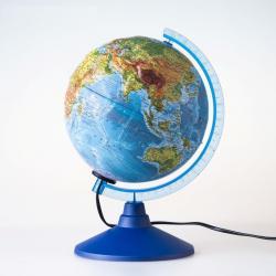 Фото Глобус физический рельефный с подсветкой 250 мм Классик Евро