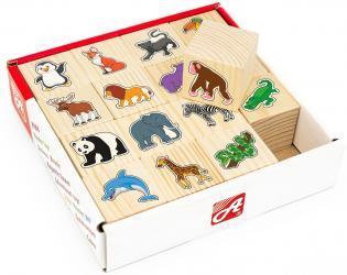 Фото Кубики деревянные В зоопарке 16 шт (RDI-D062a)