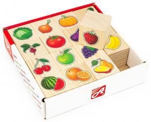 Фото Кубики деревянные Овощи-фрукты 16 шт (RDI-D067a)