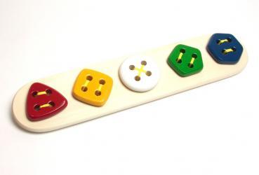 Фото Шнуровка деревянная Пуговицы 5 в ряд геометрия (Ш-091)