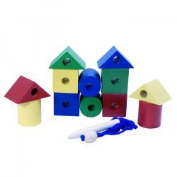 Фото Бусы шнуровка деревянные цветные конструктор 12 дет (Ш-107)