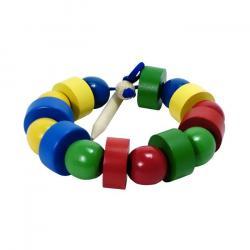 Фото Бусы шнуровка деревянные цветные шарики и шайбочки (Д-568)