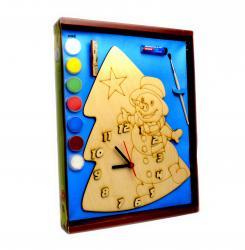 Фото Часы под роспись деревянные с красками Снеговик (8097)