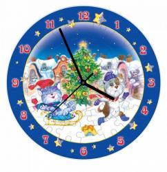 """Фото Часы-пазл """"Новогодние забавы"""" (с часовым механизмом) (126-09)"""