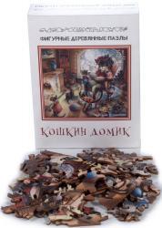 Фото Фигурный деревянный пазл Кошкин домик