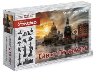 Фото Фигурный деревянный пазл Санкт-Петербург, 105 элементов (8182)