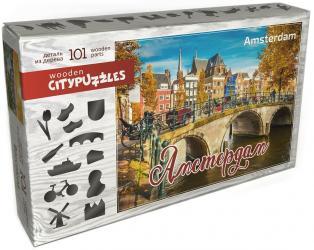 Фото Фигурный деревянный пазл Амстердам, 101 элемент