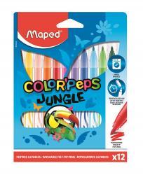 Фото Фломастеры Color'Peps Jungle смываемые с заблокированным пишущим узлом 12 цв (845420)