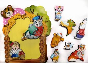 Фото Фигурный деревянный пазл для малышей Теремок 9 дет