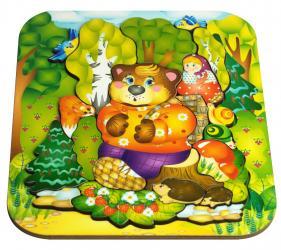 Фото Фигурный деревянный пазл для малышей Маша и Медведь 19 дет (8287)