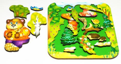 Фигурный деревянный пазл для малышей Маша и Медведь 19 дет (8287) фотография 2