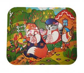 Деревянный пазл на подложке Кот, Петух  и Лиса фотография 1