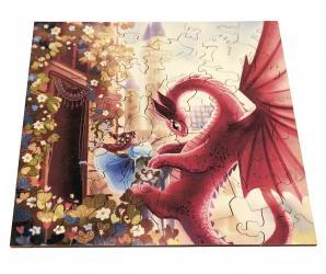 Фигурный деревянный пазл Дракон и принцесса фотография 2