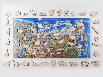 Фигурный деревянный пазл на подложке Россия 109 деталей (8267) фотография 2