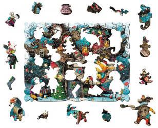 Фигурный деревянный пазл Винни Пух Новый год Страна сказок фотография 3