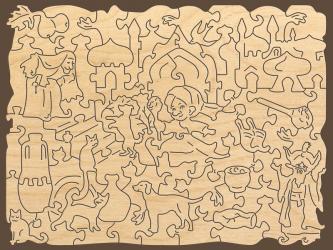 Фигурный деревянный пазл Маленький Мук Страна сказок фотография 4