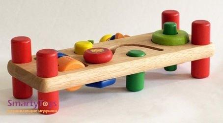 Развивающая скамейка деревянная (22021) фотография 2