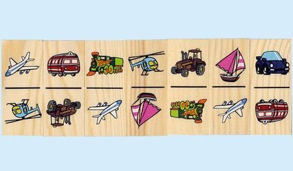Домино детское деревянное Транспорт фотография 2