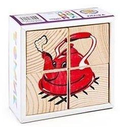 Фото Кубики деревянные Посуда 4 эл.