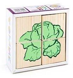 Фото Кубики деревянные Овощи 4 эл.