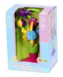 Развивающая игрушка для малышей на присоске Зверюшки на карусели фотография 2