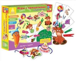 """Фото Настольная развивающая игра с прищепками и шнурочками """"Животные"""""""