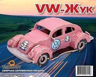 Фото Сборная деревянная модель Фольксваген Жук розовый (П144)