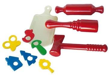 Фото Детский набор кухонных инструментов (толкушка, скалка, молоток, доска, формочки)