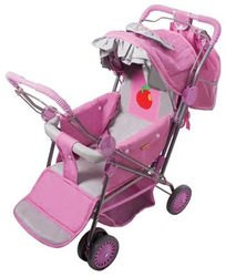 Фото Коляска прогулочная для куклы с подножкой (розово-серебристая)(606-2)