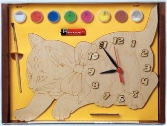 Фото Часы под роспись деревянные Кошка с красками (ДНИ116)