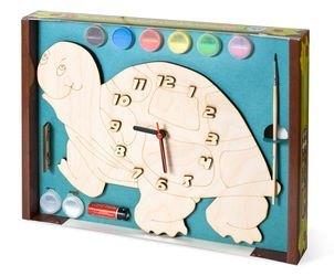 Фото Часы под роспись деревянные Черепаха с красками