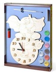Фото Часы под роспись деревянные Слоник с красками