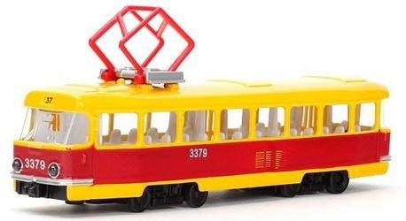 Фото Игрушка трамвай металлический Технопарк (свет+звук) (CT12-463-2)