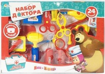 """Фото Набор доктора """"Маша и Медведь"""" с шапочкой 24 предмета (A373-H34024-R)"""