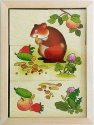 Фото Развивающая игра Картинки разрезные деревянные Кто что ест домашние животные  (Д-509/Д-611)