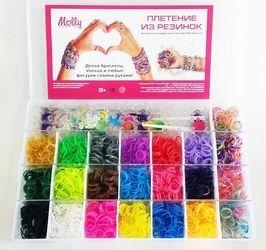 Фото Набор для плетения из резиночек: 3000 шт. (22 цв.), станок в чемоданчике(TWL-748))