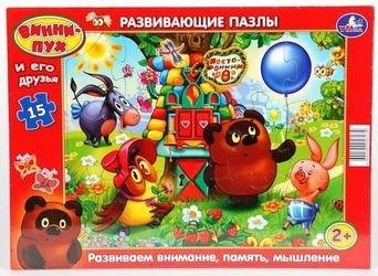 """Фото Развивающие пазлы в рамке """"Винни Пух и его друзья"""" 15 дет."""