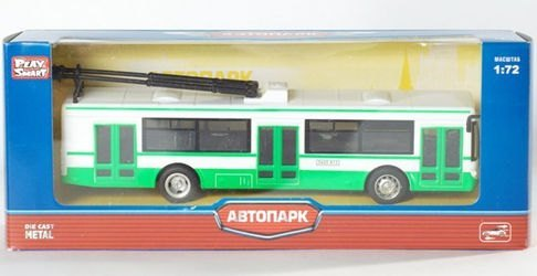 """Фото Игрушечный троллейбус зеленый """"ЛИАЗ 5292"""" инерционный 1:72 (M6407A)"""