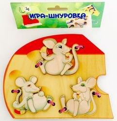 "Фото Шнуровка деревянная ""Мышки"" (7795)"
