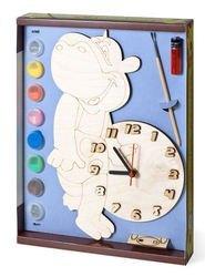 Фото Часы под роспись деревянные Бегемот с красками (ДНИ 115)