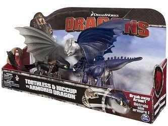 Фото Игрушечный набор Dragons Дрэгонс Беззубик и Иккинг против дракона в доспехах (66599)